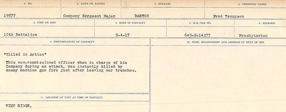 Circumstances of Death– Source: Library and Archives Canada.  CIRCUMSTANCES OF DEATH REGISTERS, FIRST WORLD WAR Surnames:  Bark to Bazinet. Mircoform Sequence 6; Volume Number 31829_B016716. Reference RG150, 1992-93/314, 150.  Page 651 of 1058.