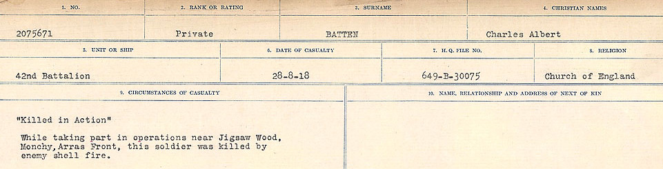 Circumstances of Death Registers– Source: Library and Archives Canada.  CIRCUMSTANCES OF DEATH REGISTERS, FIRST WORLD WAR Surnames:  Bark to Bazinet. Mircoform Sequence 6; Volume Number 31829_B016716. Reference RG150, 1992-93/314, 150.  Page 895 of 1058.