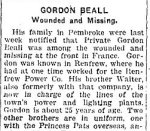 Newspaper Clipping– From the Renfew Mercury for 6 September 1918.