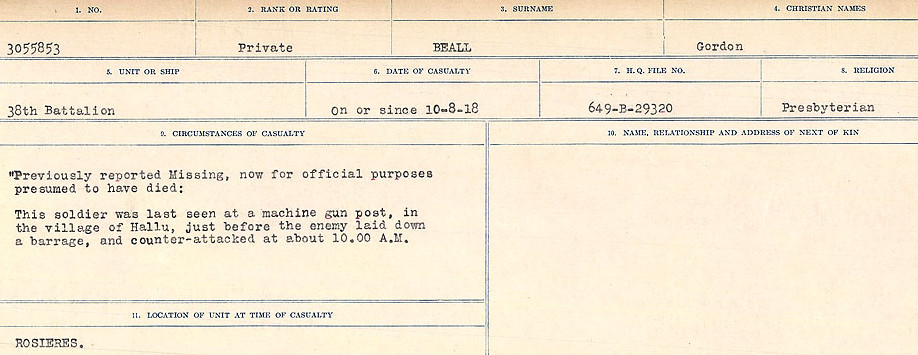Death Registry– Source: Library and Archives Canada.  CIRCUMSTANCES OF DEATH REGISTERS FIRST WORLD WAR Surnames:  Bea to Belisle  Mircoform Sequence 7; Volume Number 31829_B016717. Reference RG150, 1992-93/314, 151.  Page 63 of 724.