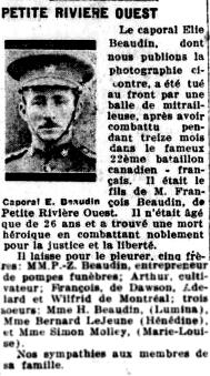 Newspaper clipping– La Presse 15 novembre 1917