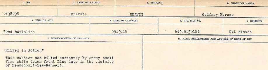 Circumstances of Death Registers– Source: Library and Archives Canada.  CIRCUMSTANCES OF DEATH REGISTERS FIRST WORLD WAR Surnames:  Bea to Belisle. Mircoform Sequence 7; Volume Number 31829_B016717. Reference RG150, 1992-93/314, 151.  Page 369 of 724.