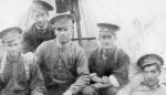 Group Photo– Soldiers of the 94th Battalion  From right to left  James Begg, Alfred Lavoie, unknown, unknown, unknown, 1916