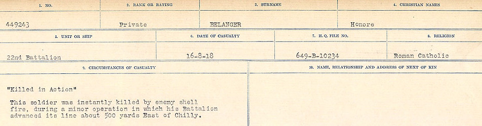 Circumstances of Death Registers– Source: Library and Archives Canada.  CIRCUMSTANCES OF DEATH REGISTERS FIRST WORLD WAR Surnames:  Bea to Belisle. Mircoform Sequence 7; Volume Number 31829_B016717. Reference RG150, 1992-93/314, 151.  Page 643 of 724.