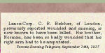 Newspaper Clipping– Cecil R. Belcher enlisted in London, Ontario, on September 7th, 1915.  His brother was Norman Wilfred Belcher, 226048, who enlisted in London, Ontario, on October 23rd, 1915.
