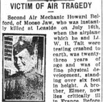 Newspaper Clipping– Pte. Elmer Henry Belford is mentioned in this article about the death of his brother.