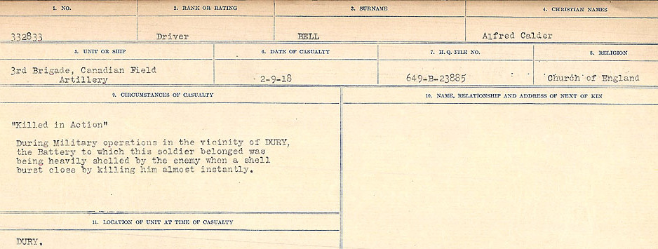 Death Registry– Source: Library and Archives Canada.  CIRCUMSTANCES OF DEATH REGISTERS FIRST WORLD WAR Surnames: Bernard to Binyan. Mircoform Sequence 8; Volume Number 31829_B016718; Reference RG150, 1992-93/314, 152 Page 11 of 670