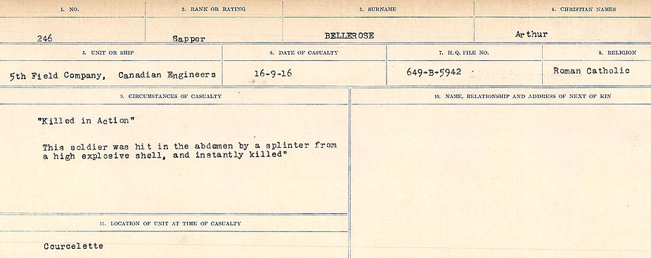 Death Registry– Source: Library and Archives Canada.  CIRCUMSTANCES OF DEATH REGISTERS FIRST WORLD WAR Surnames:  Bell to Bernaquez.  Mircoform Sequence 8; Volume Number 31829_B016718; Reference RG150, 1992-93/314, 152 Page 277 of 670.