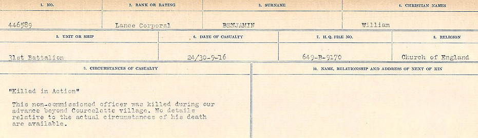 Circumstances of Death Registers– Source: Library and Archives Canada.  CIRCUMSTANCES OF DEATH REGISTERS FIRST WORLD WAR Surnames:  Bell to Bernaquez.  Mircoform Sequence 8; Volume Number 31829_B016718; Reference RG150, 1992-93/314, 152 Page 365 of 670
