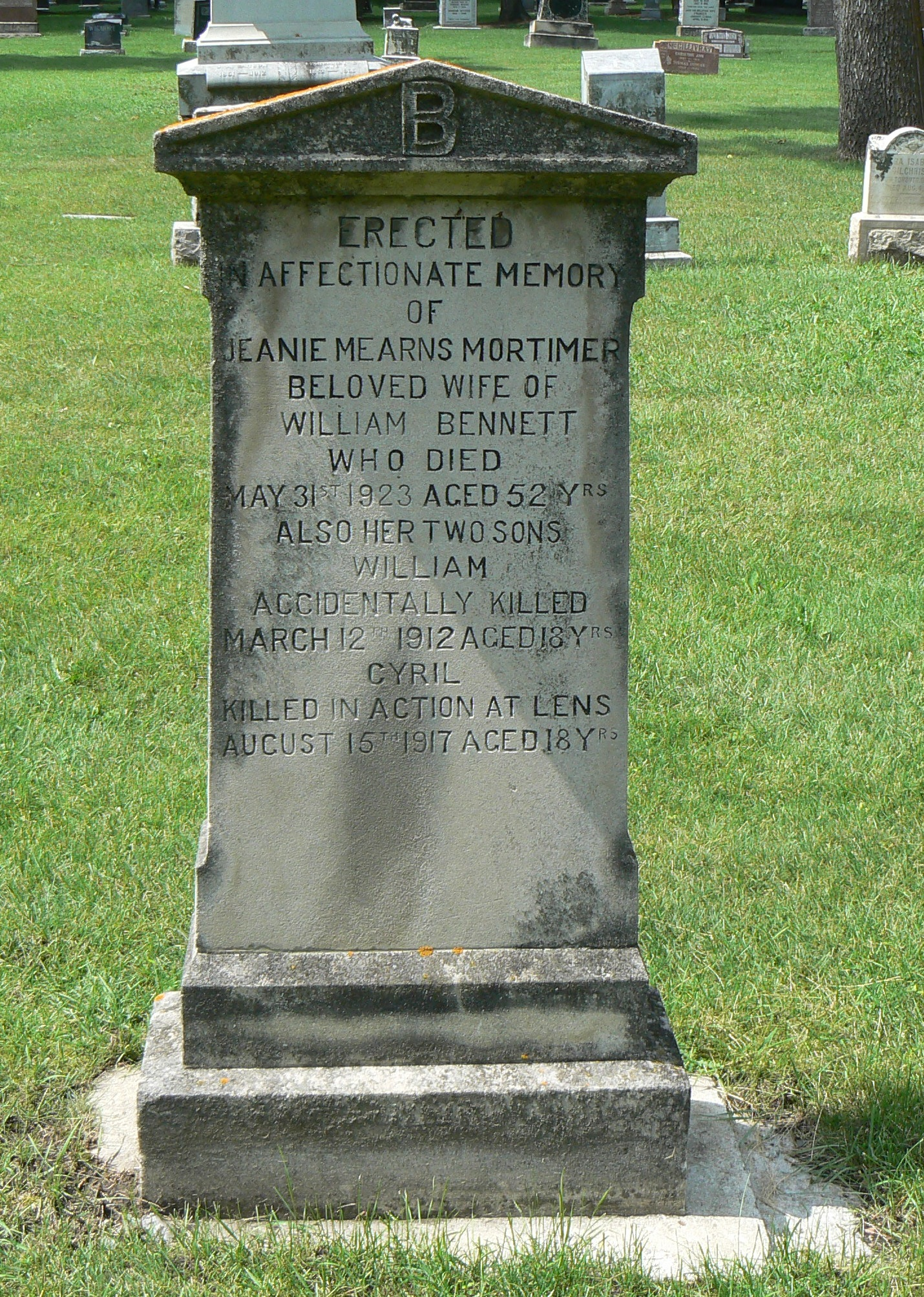 Memorial– Cyril Killed in action at Lens August 15th 1917 Aged 18Yrs