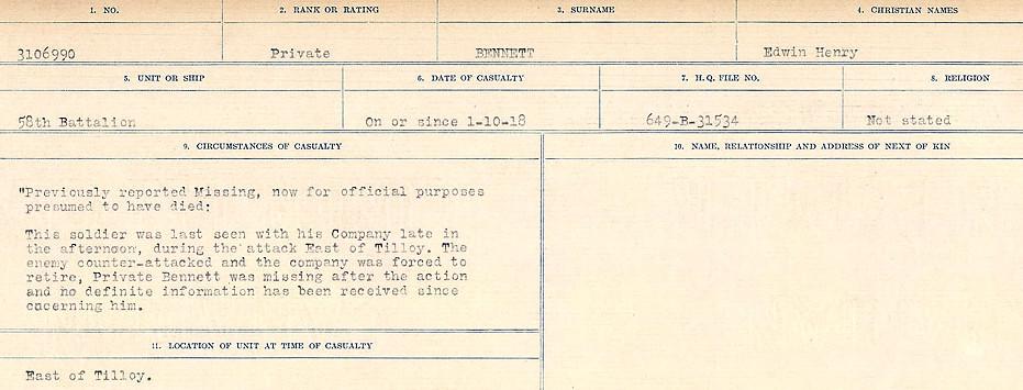 Death Registry– Source: Library and Archives Canada.  CIRCUMSTANCES OF DEATH REGISTERS FIRST WORLD WAR Surnames:  Bell to Bernaquez.  Mircoform Sequence 8; Volume Number 31829_B016718; Reference RG150, 1992-93/314, 152 Page 413 of 670