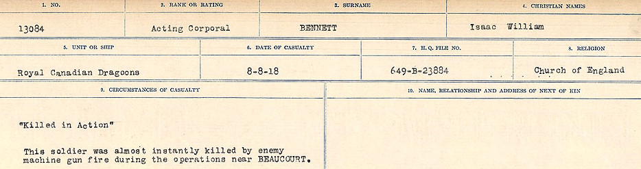 Death Registry– Source: Library and Archives Canada.  CIRCUMSTANCES OF DEATH REGISTERS FIRST WORLD WAR Surnames:  Bell to Bernaquez.  Mircoform Sequence 8; Volume Number 31829_B016718; Reference RG150, 1992-93/314, 152 Page 459 of 670