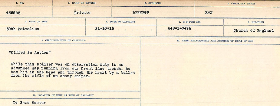 Death Registry– Source: Library and Archives Canada.  CIRCUMSTANCES OF DEATH REGISTERS FIRST WORLD WAR Surnames:  Bell to Bernaquez.  Mircoform Sequence 8; Volume Number 31829_B016718; Reference RG150, 1992-93/314, 152 Page 485 of 670