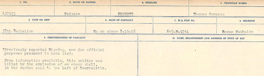 Circumstances of Death Registers– Source: Library and Archives Canada.  CIRCUMSTANCES OF DEATH REGISTERS FIRST WORLD WAR Surnames:  Bell to Bernaquez.  Mircoform Sequence 8; Volume Number 31829_B016718; Reference RG150, 1992-93/314, 152 Page 499 of 670