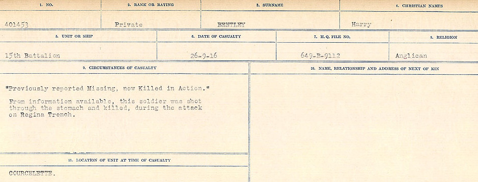 Death Registry– Source: Library and Archives Canada.  CIRCUMSTANCES OF DEATH REGISTERS FIRST WORLD WAR Surnames:  Bell to Bernaquez.  Mircoform Sequence 8; Volume Number 31829_B016718; Reference RG150, 1992-93/314, 152 Page 593 of 670