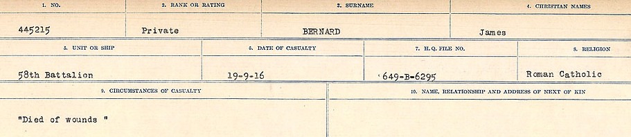 Circumstances of Death Registers– Source: Library and Archives Canada.  CIRCUMSTANCES OF DEATH REGISTERS FIRST WORLD WAR Surnames: Bernard to Binyon. Mircoform Sequence 9; Volume Number 31829_B016719; Reference RG150, 1992-93/314, 153 Page 15 of 652