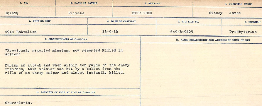 Circumstances of Death Registers– Source: Library and Archives Canada.  CIRCUMSTANCES OF DEATH REGISTERS FIRST WORLD WAR Surnames: Bernard to Binyon. Mircoform Sequence 9; Volume Number 31829_B016719; Reference RG150, 1992-93/314, 153 Page 53 of 652