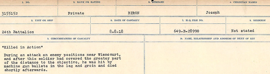 Circumstances of Death Registers– Source: Library and Archives Canada.  CIRCUMSTANCES OF DEATH REGISTERS FIRST WORLD WAR Surnames: Birch to Blakstad. Mircoform Sequence 10; Volume Number 31829_B034746; Reference RG150, 1992-93/314, 154 Page 137 of 734