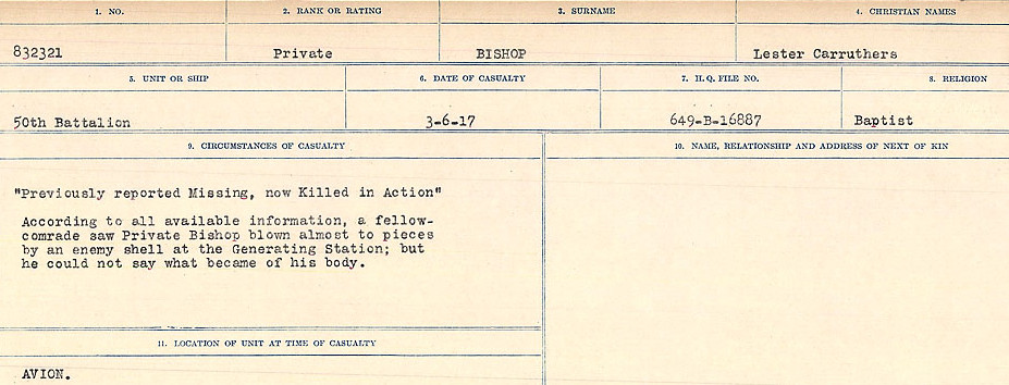 Death Registry– Source: Library and Archives Canada.  CIRCUMSTANCES OF DEATH REGISTERS FIRST WORLD WAR Surnames: Birch to Blakstad. Mircoform Sequence 10; Volume Number 31829_B034746; Reference RG150, 1992-93/314, 154 Page 225 of 734