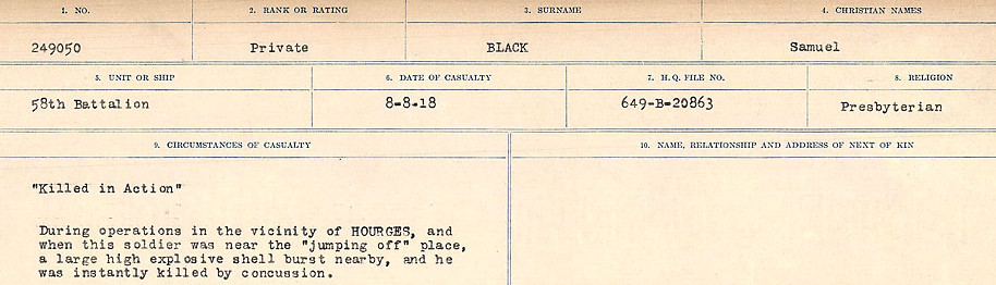 Circumstances of Death Registers– Source: Library and Archives Canada.  CIRCUMSTANCES OF DEATH REGISTERS FIRST WORLD WAR Surnames: Birch to Blakstad. Mircoform Sequence 10; Volume Number 31829_B034746; Reference RG150, 1992-93/314, 154 Page 399 of 734