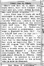 Newspaper Clipping– This article on Lieut. James Kent Blair is from the Oct. 7, 1916 Ottawa Citizen.
