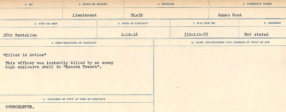 Circumstances of Death Registers– Source: Library and Archives Canada.  CIRCUMSTANCES OF DEATH REGISTERS FIRST WORLD WAR Surnames: Birch to Blakstad. Mircoform Sequence 10; Volume Number 31829_B034746; Reference RG150, 1992-93/314, 154 Page 601 of 734