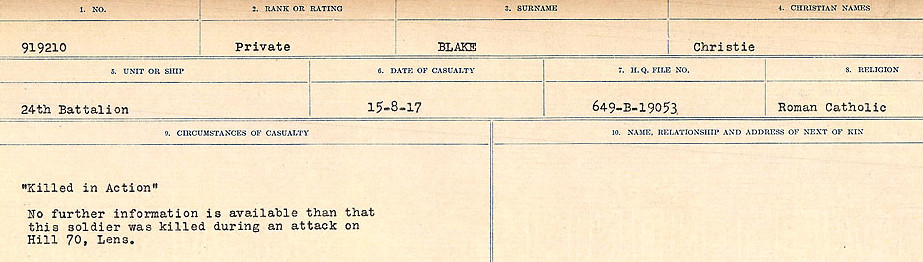 Death Registry– Source: Library and Archives Canada.  CIRCUMSTANCES OF DEATH REGISTERS FIRST WORLD WAR Surnames: Birch to Blakstad. Mircoform Sequence 10; Volume Number 31829_B034746; Reference RG150, 1992-93/314, 154 Page 661 of 734
