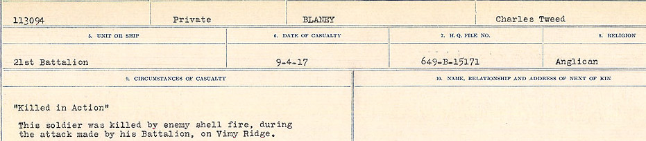 Death Registry– Source:  Library and Archives Canada.  CIRCUMSTANCES OF DEATH REGISTERS FIRST WORLD WAR Surnames: Blampie to Booth; Mircoform Sequence 11; Volume Number 131829_B016720; Reference RG150, 1992-93/314, 155 Page 75 of 762.