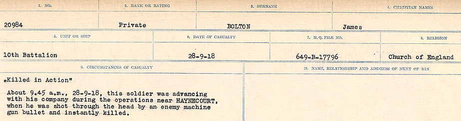 Death Registry– Source:  Library and Archives Canada.  CIRCUMSTANCES OF DEATH REGISTERS FIRST WORLD WAR Surnames: Blampie to Booth; Mircoform Sequence 11; Volume Number 131829_B016720; Reference RG150, 1992-93/314, 155 Page 517 of 762