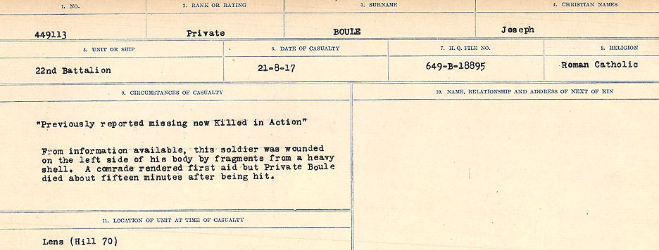 Death Registry– Source: Library and Archives Canada.  CIRCUMSTANCES OF DEATH REGISTERS FIRST WORLD WAR Surnames: Border to Boys. Mircoform Sequence 12; Volume Number 131829_B016721; Reference RG150, 1992-93/314, 156 Page 253 of 934