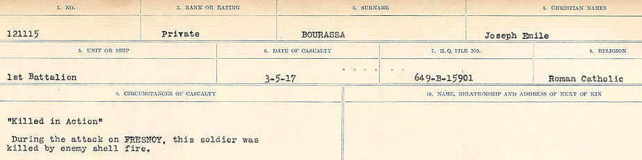 Circumstances of Death Registers– Source: Library and Archives Canada.  CIRCUMSTANCES OF DEATH REGISTERS FIRST WORLD WAR Surnames: Border to Boys. Mircoform Sequence 12; Volume Number 131829_B016721; Reference RG150, 1992-93/314, 156 Page 301 of 934