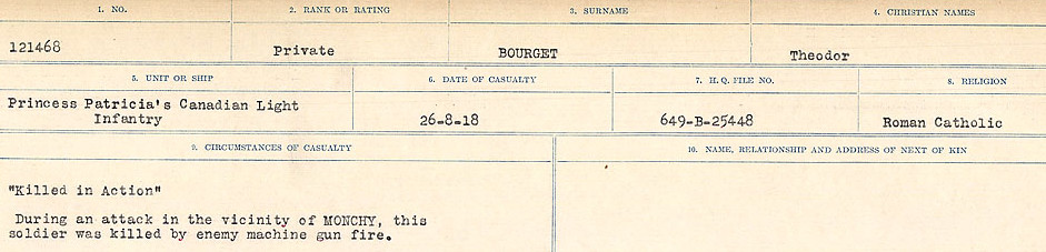 Circumstances of Death Registers– Source: Library and Archives Canada.  CIRCUMSTANCES OF DEATH REGISTERS FIRST WORLD WAR Surnames: Border to Boys. Mircoform Sequence 12; Volume Number 131829_B016721; Reference RG150, 1992-93/314, 156 Page 337 of 934