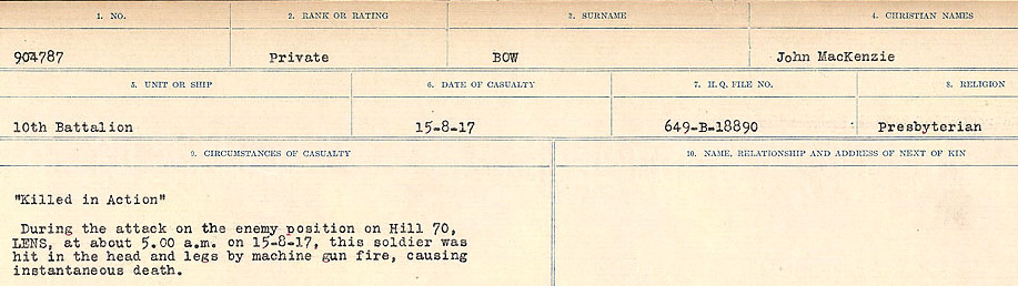 Death Registry– Source: Library and Archives Canada.  CIRCUMSTANCES OF DEATH REGISTERS FIRST WORLD WAR Surnames: Border to Boys. Mircoform Sequence 12; Volume Number 131829_B016721; Reference RG150, 1992-93/314, 156 Page 469 of 934