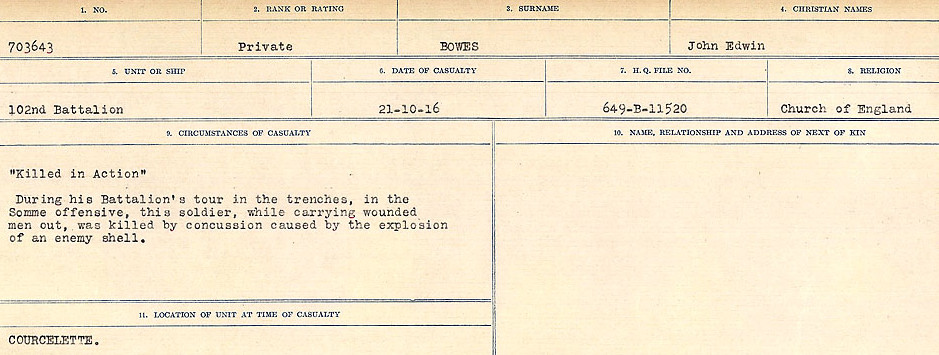 Death Registry– Source: Library and Archives Canada.  CIRCUMSTANCES OF DEATH REGISTERS FIRST WORLD WAR Surnames: Border to Boys. Mircoform Sequence 12; Volume Number 131829_B016721; Reference RG150, 1992-93/314, 156 Page 595 of 934