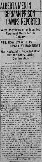 Newspaper article– THE CALGARY DAILY HERALD JUNE 21 1917