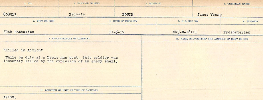 Circumstances of Death Registers– Source: Library and Archives Canada.  CIRCUMSTANCES OF DEATH REGISTERS FIRST WORLD WAR Surnames: Border to Boys. Mircoform Sequence 12; Volume Number 131829_B016721; Reference RG150, 1992-93/314, 156 Page 613 of 934