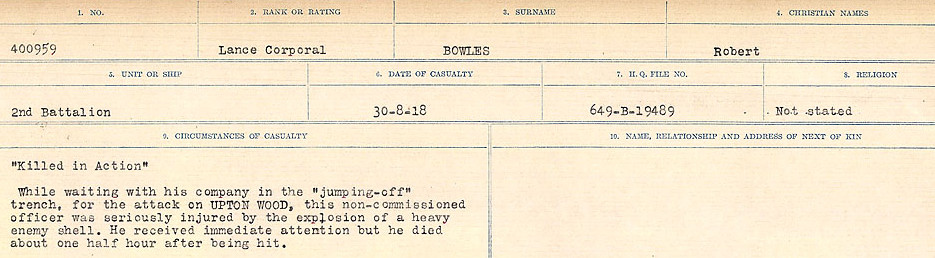 Death Registry– Source: Library and Archives Canada.  CIRCUMSTANCES OF DEATH REGISTERS FIRST WORLD WAR Surnames: Border to Boys. Mircoform Sequence 12; Volume Number 131829_B016721; Reference RG150, 1992-93/314, 156 Page 635 of 934