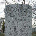 Memorial– Pte. Walter Herbert Boyce is remembered on the BOYCE family memorial located at St. John's (Norway) cemetery, Toronto, Ontario.