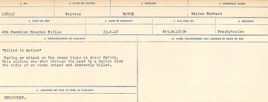 Death Registry– Source: Library and Archives Canada.  CIRCUMSTANCES OF DEATH REGISTERS FIRST WORLD WAR Surnames: Border to Boys. Mircoform Sequence 12; Volume Number 131829_B016721; Reference RG150, 1992-93/314, 156 Page 775 of 934.