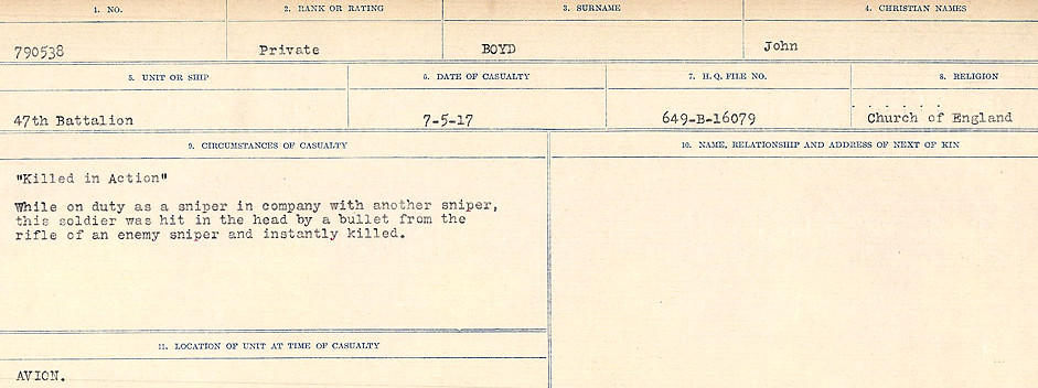 Document– Source: Library and Archives Canada.  CIRCUMSTANCES OF DEATH REGISTERS FIRST WORLD WAR Surnames: Border to Boys. Mircoform Sequence 12; Volume Number 131829_B016721; Reference RG150, 1992-93/314, 156 Page 801 of 934.