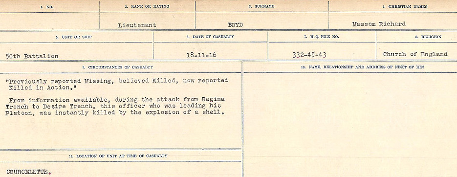 Death Registry– Source: Library and Archives Canada.  CIRCUMSTANCES OF DEATH REGISTERS FIRST WORLD WAR Surnames: Border to Boys. Mircoform Sequence 12; Volume Number 131829_B016721; Reference RG150, 1992-93/314, 156 Page 813 of 934.