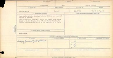 Graves registration form– Notice that the full view of the Casualty Card for Lieutenant Mossom Richard Boyd reports that he is buried in Plot 5 Row A Grave 26 of the Aubingy Communal Cemetery Extension. That is an error, as that is the burial location of Lieutenant James William Boyd of the Canadian Divisional Cyclist Company, who died at the CCS on 4 February 1917.