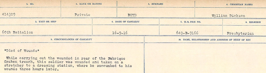 Death Registry– Source: Library and Archives Canada.  CIRCUMSTANCES OF DEATH REGISTERS FIRST WORLD WAR Surnames: Border to Boys. Mircoform Sequence 12; Volume Number 131829_B016721; Reference RG150, 1992-93/314, 156 Page 847 of 934.