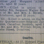 Newspaper Clipping– Death Notice of CQMS Boyes. From the 'Carlisle Journal', Tuesday, October 31st, 1916, p3.