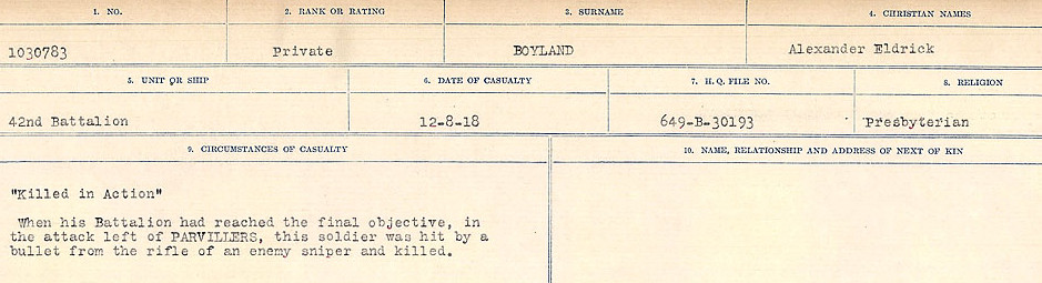 Death Registry– Source: Library and Archives Canada.  CIRCUMSTANCES OF DEATH REGISTERS FIRST WORLD WAR Surnames: Border to Boys. Mircoform Sequence 12; Volume Number 131829_B016721; Reference RG150, 1992-93/314, 156 Page 869 of 934.