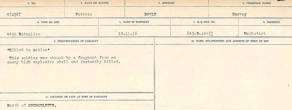Death Registry– Source: Library and Archives Canada.  CIRCUMSTANCES OF DEATH REGISTERS FIRST WORLD WAR Surnames: Border to Boys. Mircoform Sequence 12; Volume Number 131829_B016721; Reference RG150, 1992-93/314, 156 Page 889 of 934.