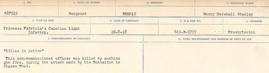 Circumstance of death– Source: Library and Archives Canada.  CIRCUMSTANCES OF DEATH REGISTERS FIRST WORLD WAR Surnames: Brabant to Britton. Mircoform Sequence 13; Volume Number 131829_B016722; Reference RG150, 1992-93/314, 157 Page 403 of 906