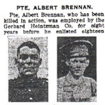 Press Clipping– Pte. Albert Brennan enlisted in Toronto with the 180th Battalion (Sportsmen) on February 5th, 1916.