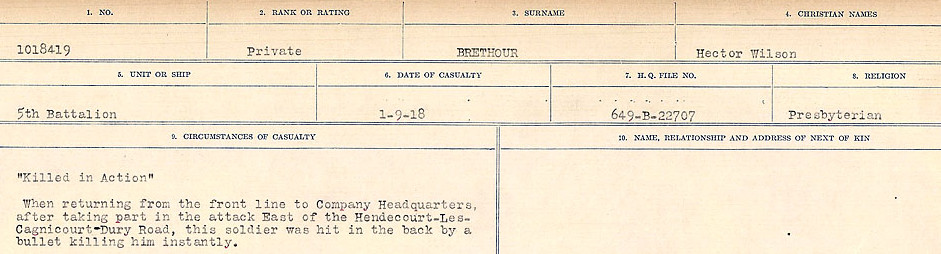 Circumstance of death– Source: Library and Archives Canada.  CIRCUMSTANCES OF DEATH REGISTERS FIRST WORLD WAR Surnames: Brabant to Britton. Mircoform Sequence 13; Volume Number 131829_B016722; Reference RG150, 1992-93/314, 157 Page 521 of 906