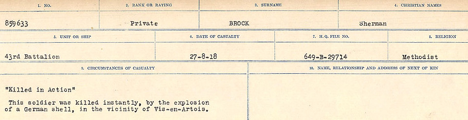 Circumstances of Death Registers– Source: Library and Archives Canada.  CIRCUMSTANCES OF DEATH REGISTERS FIRST WORLD WAR Surnames: Broad to Broyak. Mircoform Sequence 14; Volume Number 31829_B016723; Reference RG150, 1992-93/314, 158 Page 79 of 1128